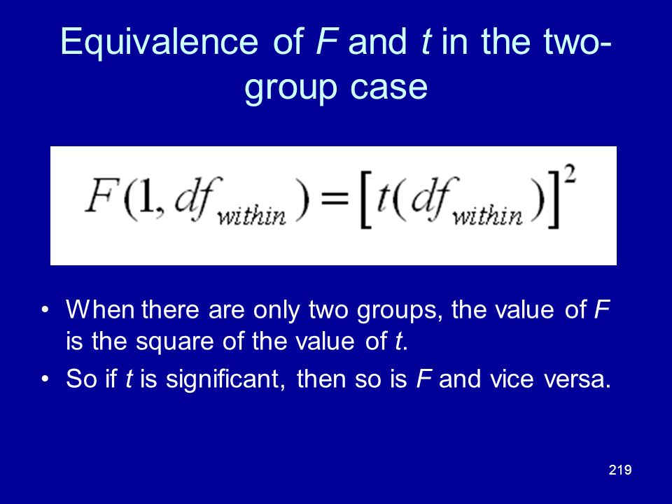 Equivalence of F and t in the two-group case