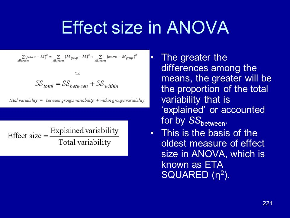 Effect size in ANOVA