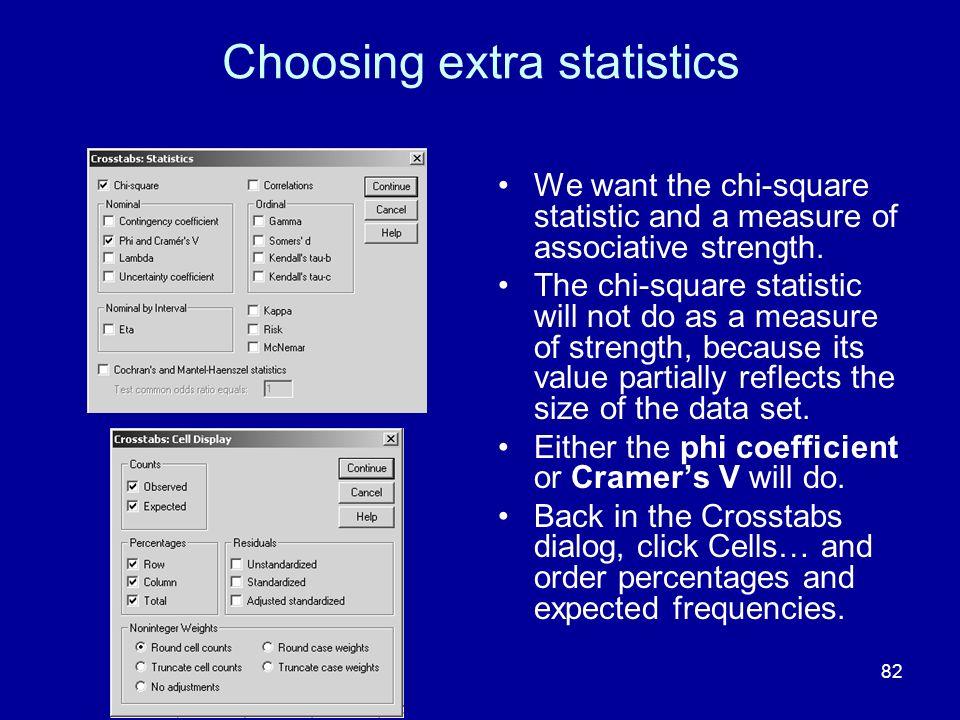 Choosing extra statistics