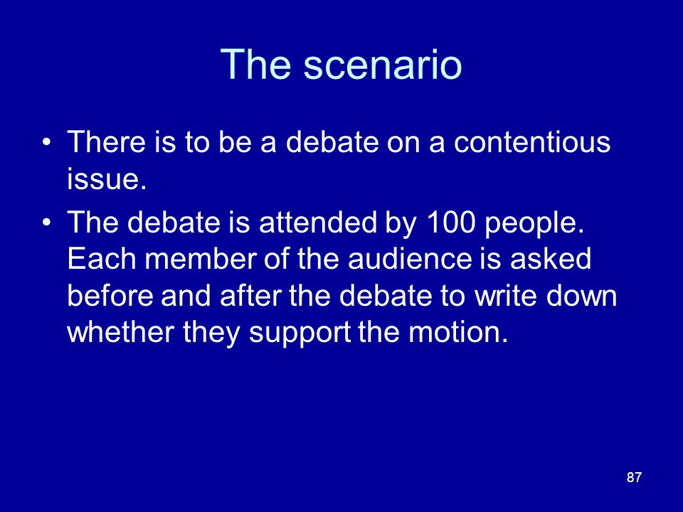 The scenario There is to be a debate on a contentious issue.