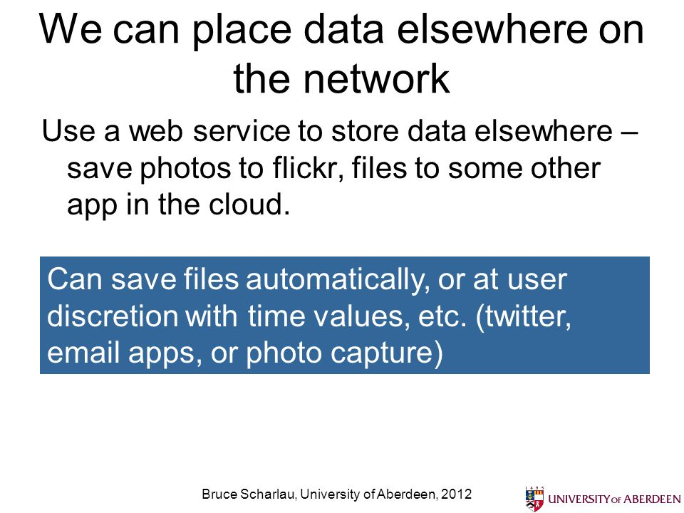 We can place data elsewhere on the network