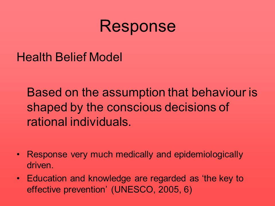 Response Health Belief Model
