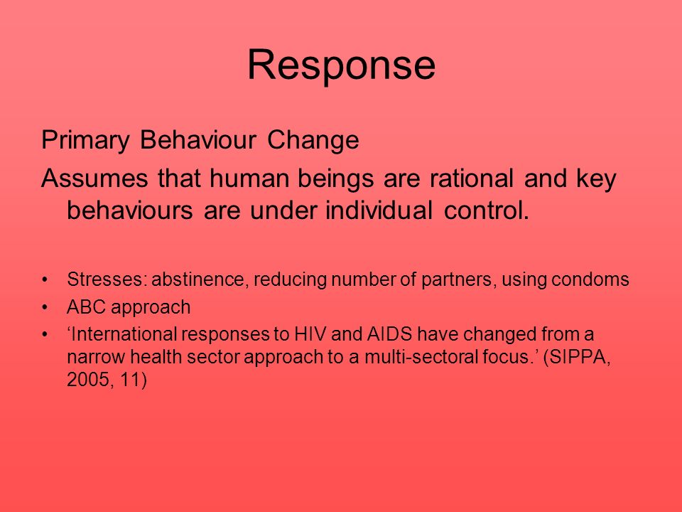 Response Primary Behaviour Change