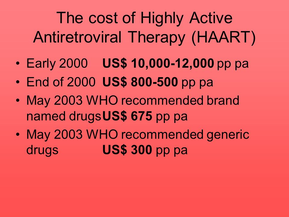 The cost of Highly Active Antiretroviral Therapy (HAART)