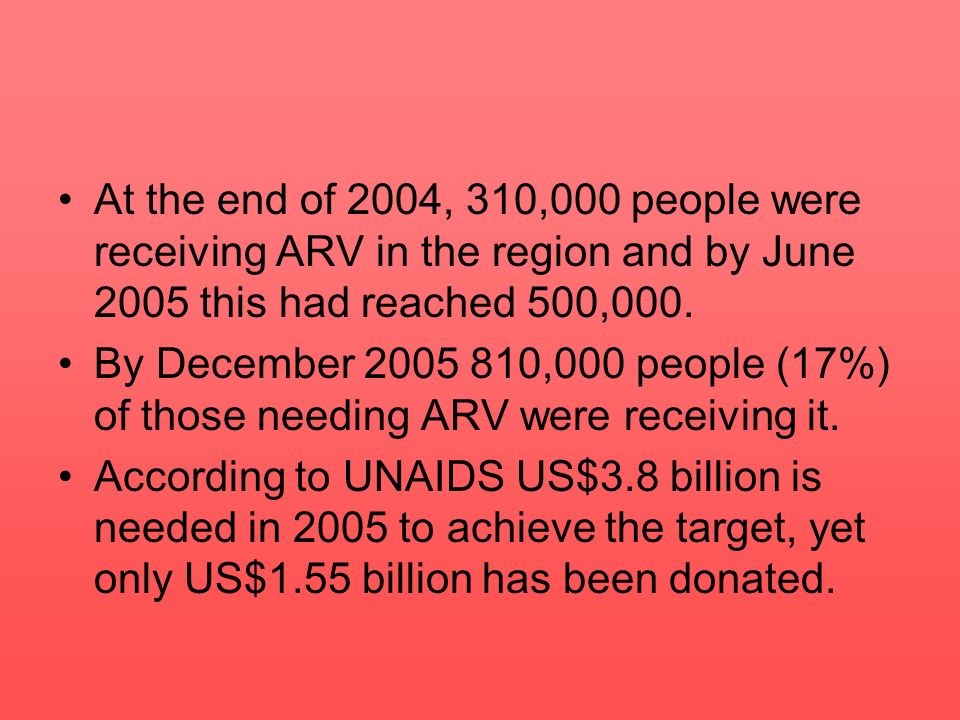 At the end of 2004, 310,000 people were receiving ARV in the region and by June 2005 this had reached 500,000.