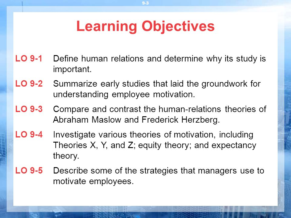 Learning Objectives LO 9-1 Define human relations and determine why its study is important.