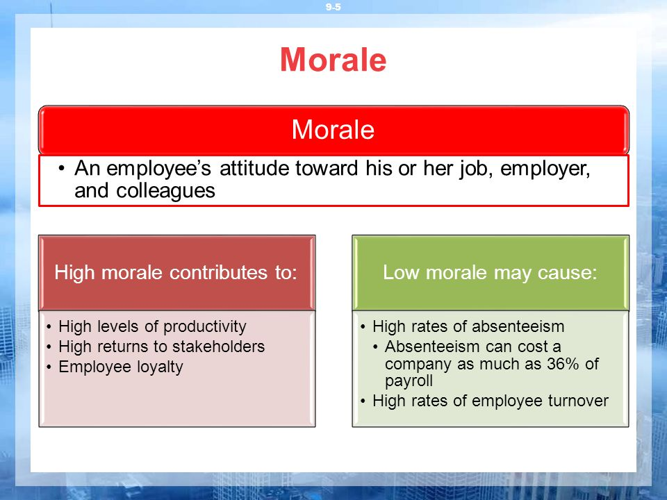 High morale contributes to: