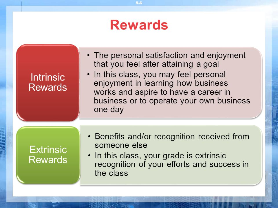 what is extrinsic rewards Negative effects of extrinsic rewards on intrinsic motivation: more smoke than  fire gerald e ledford, jr (ceo), meiyu fang (national central university,.
