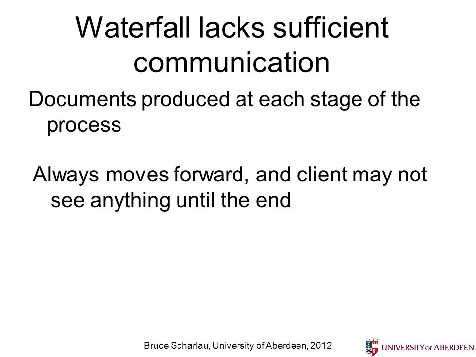 Waterfall lacks sufficient communication