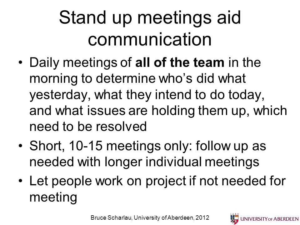 Stand up meetings aid communication