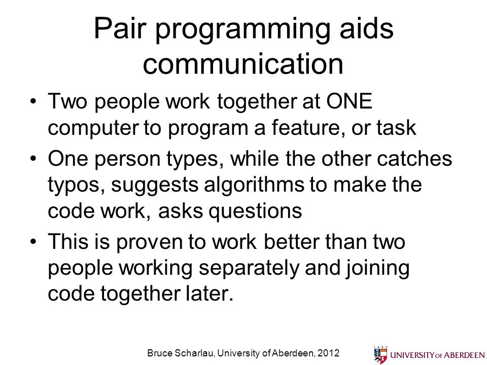 Pair programming aids communication