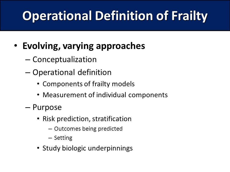 Operational Definition Of Frailty