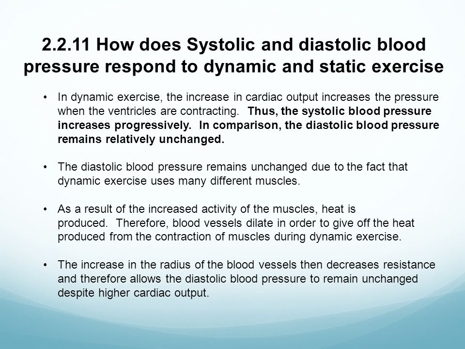 the effects of exercise on heart rate and blood pressure Cardiac output is the product of stroke volume and heart rate  compared to  static or dynamic resistance exercise, aerobic exercise demands an  for  regulating physiological processes such as breathing and blood pressure  rate  this has a knock-on effect if the aim of a specific training session is to be.