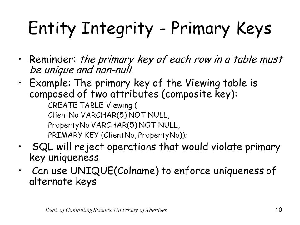 Entity Integrity - Primary Keys