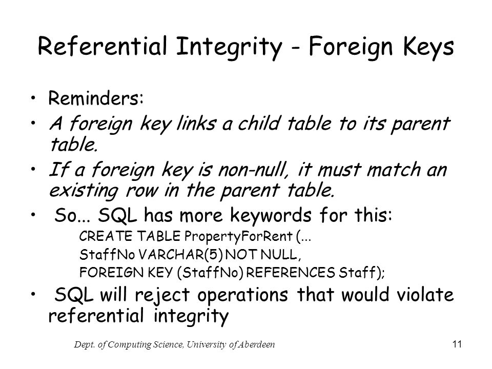Referential Integrity - Foreign Keys