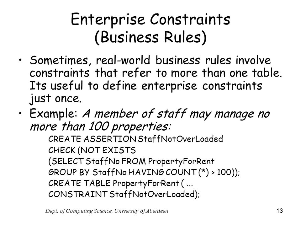 Enterprise Constraints (Business Rules)