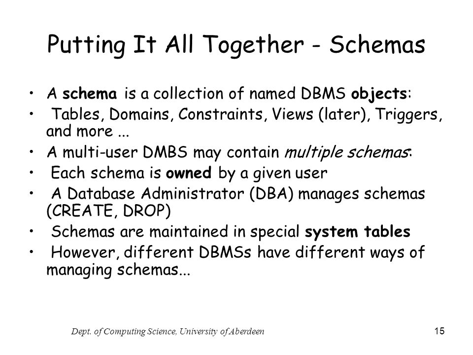 Putting It All Together - Schemas