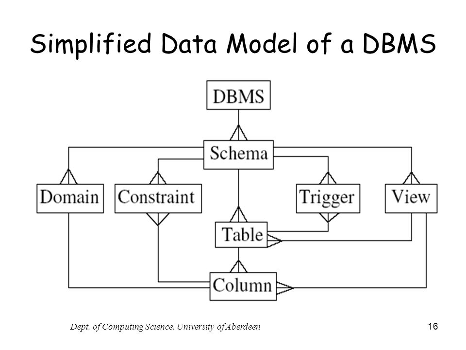 Simplified Data Model of a DBMS