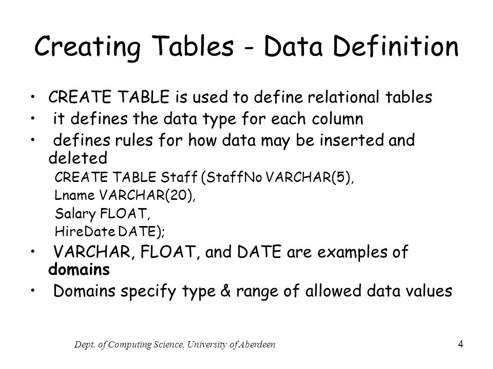 Creating Tables - Data Definition
