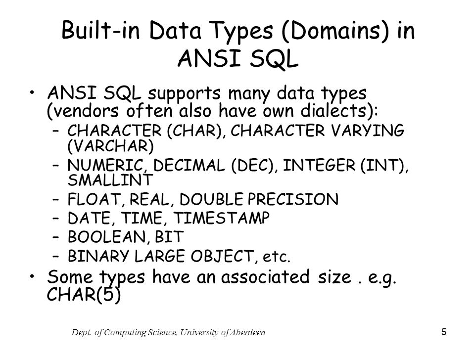 Built-in Data Types (Domains) in ANSI SQL