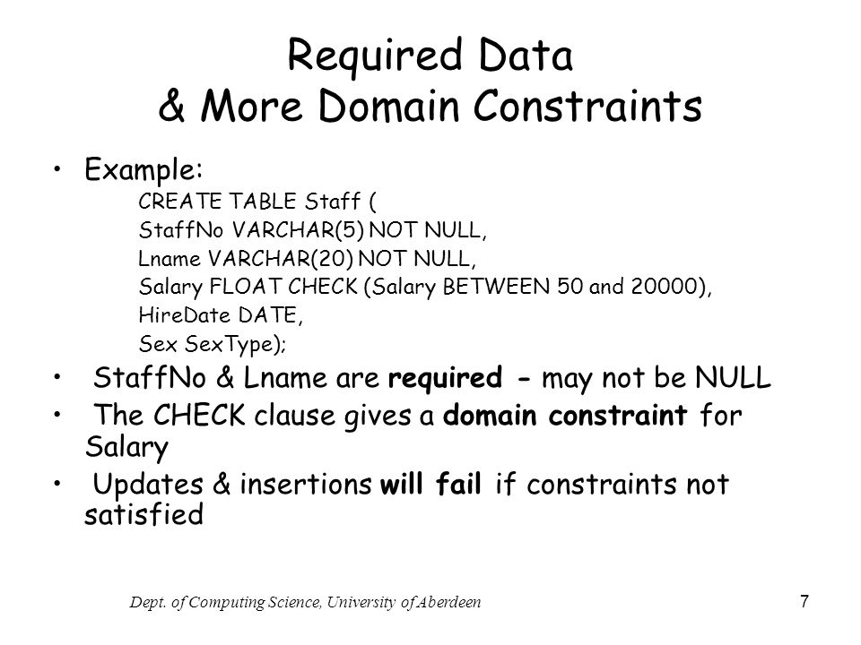 Required Data & More Domain Constraints