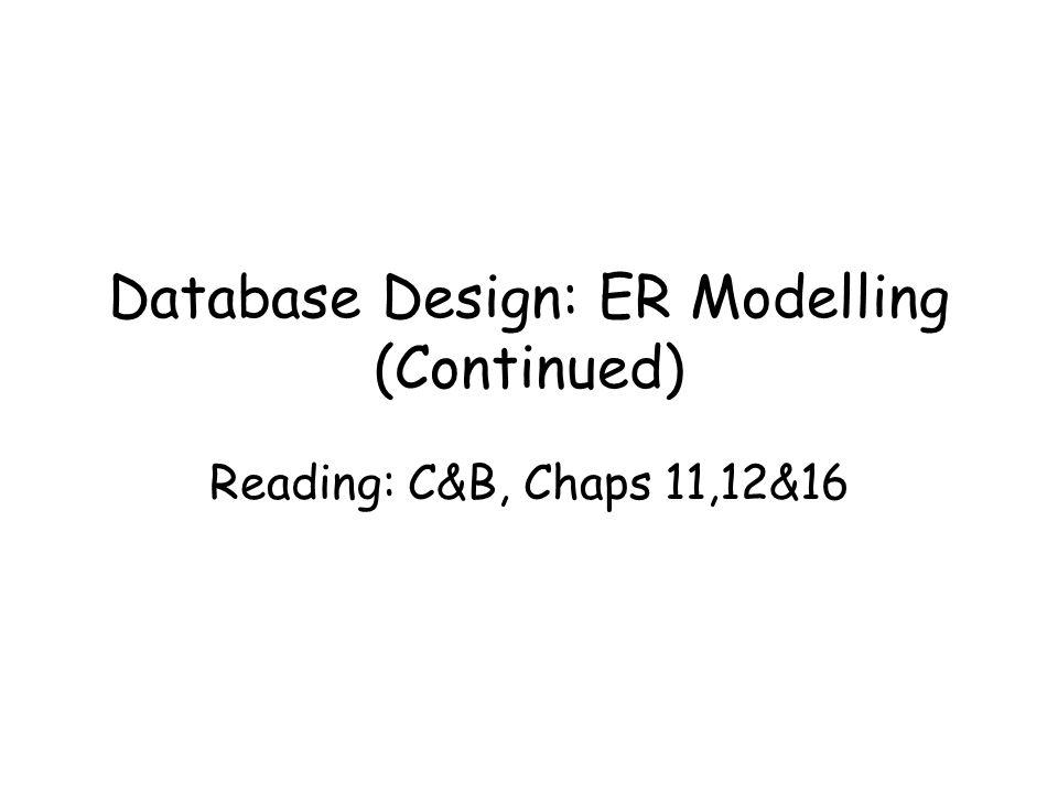 Database Design: ER Modelling (Continued)