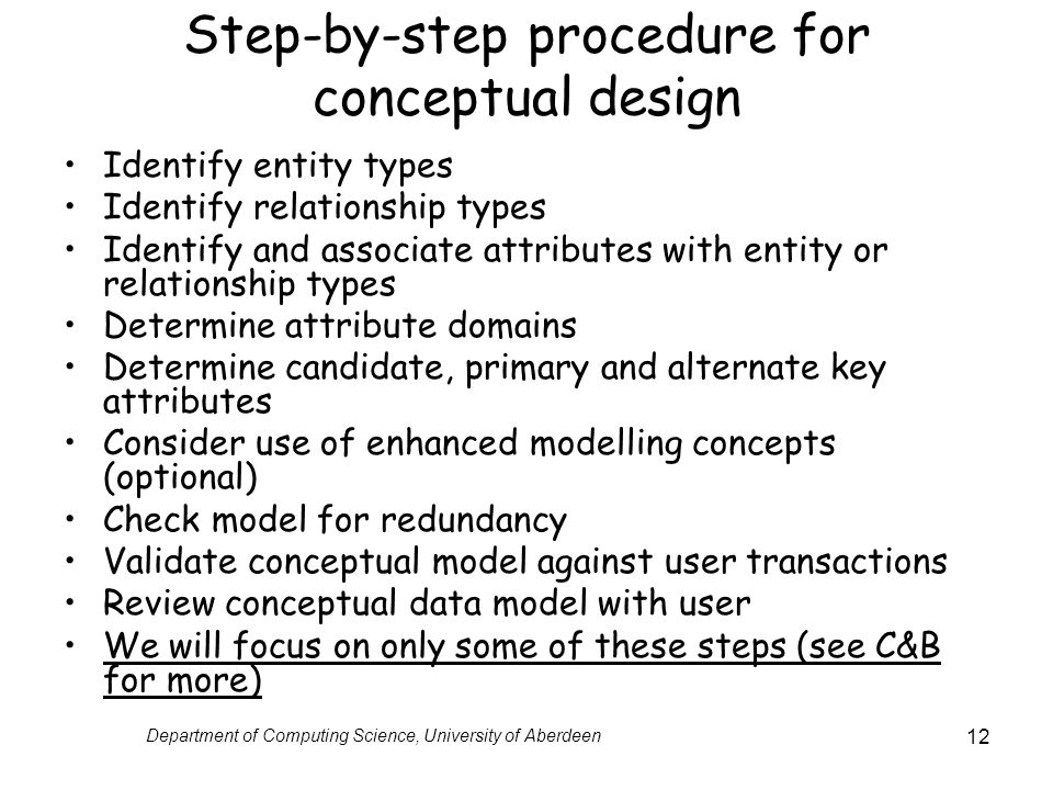 Step-by-step procedure for conceptual design