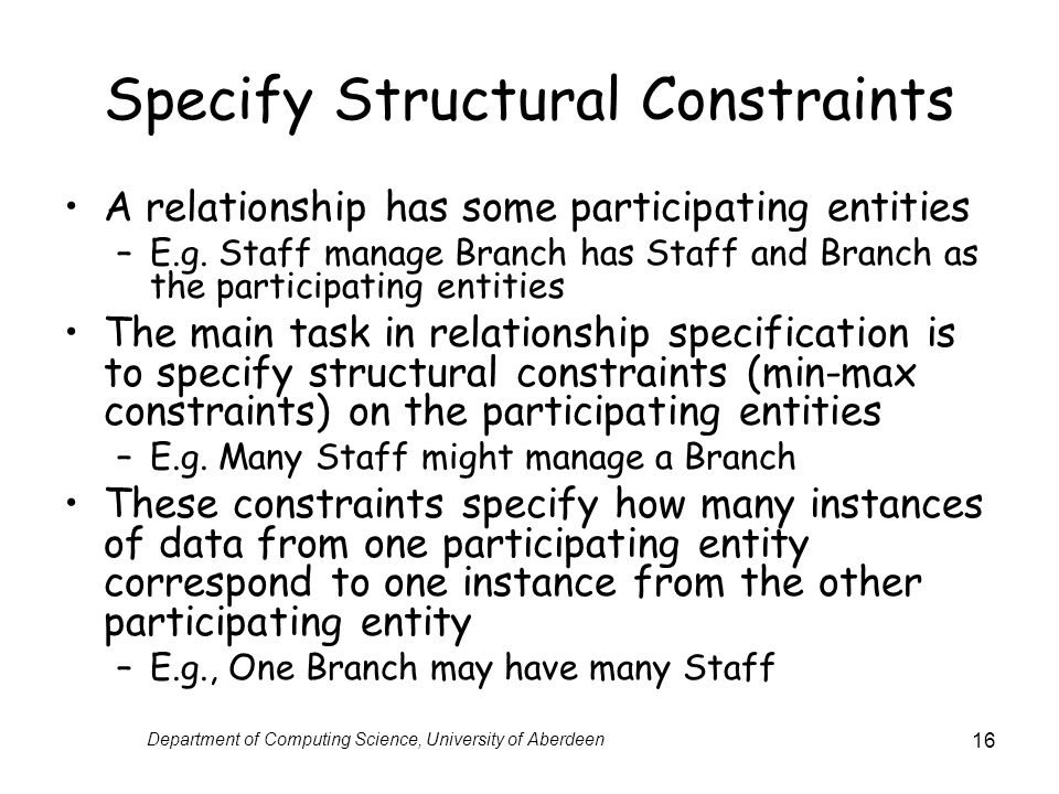 Specify Structural Constraints