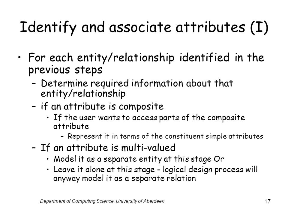 Identify and associate attributes (I)