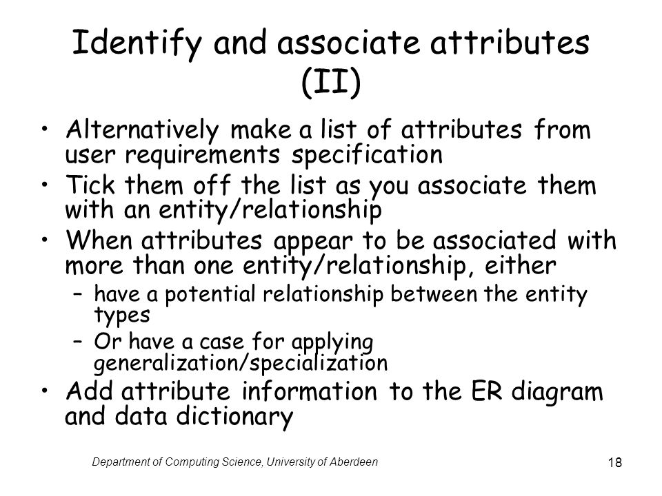 Identify and associate attributes (II)