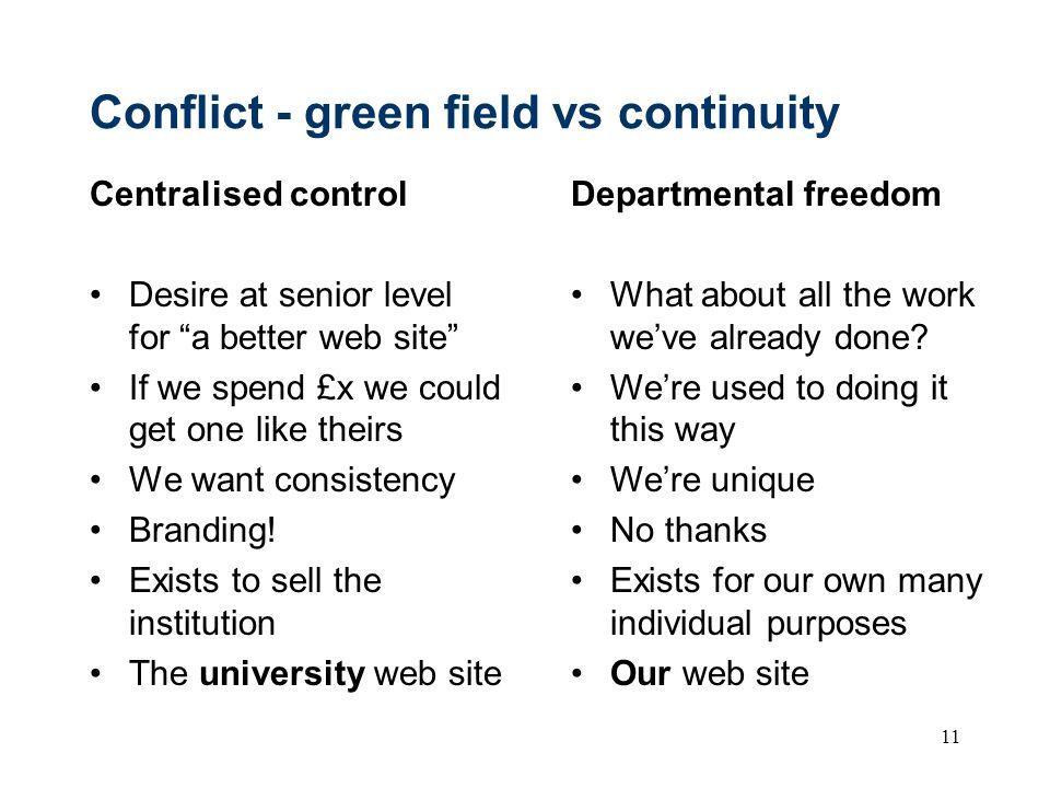Conflict - green field vs continuity