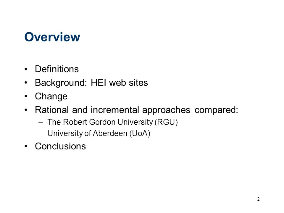 Overview Definitions Background: HEI web sites Change