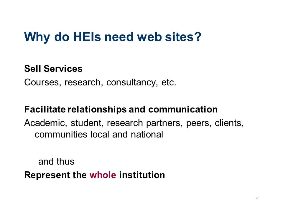 Why do HEIs need web sites