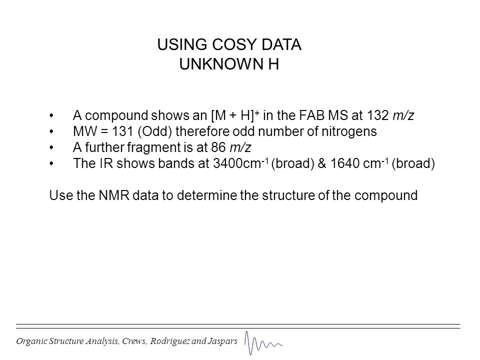 USING COSY DATA UNKNOWN H