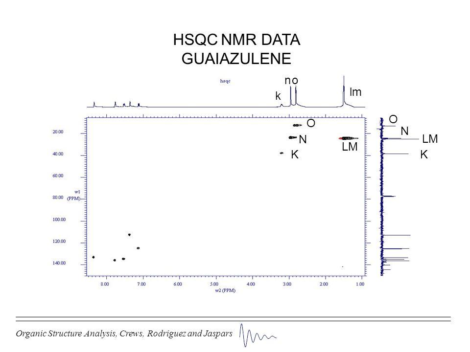 HSQC NMR DATA GUAIAZULENE n o lm k O O N N LM LM K K