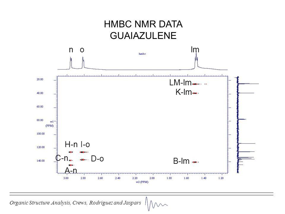 HMBC NMR DATA GUAIAZULENE n o lm LM-lm K-lm H-n I-o C-n D-o B-lm A-n