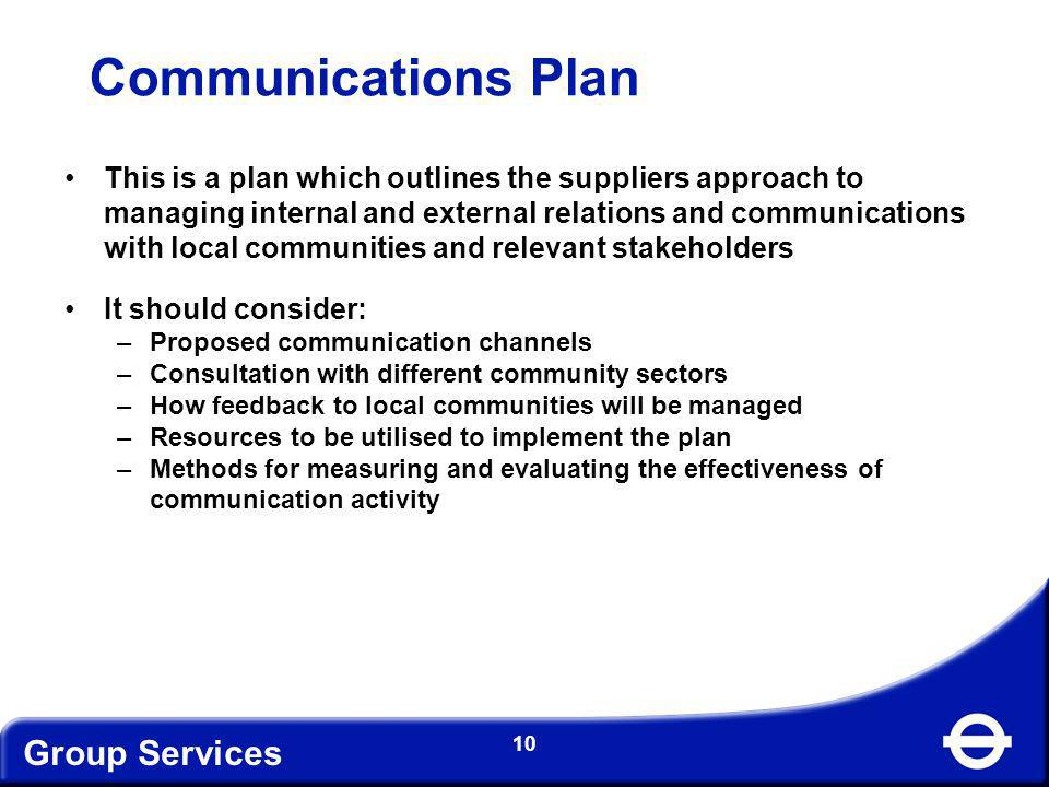 Communications Plan Group Services