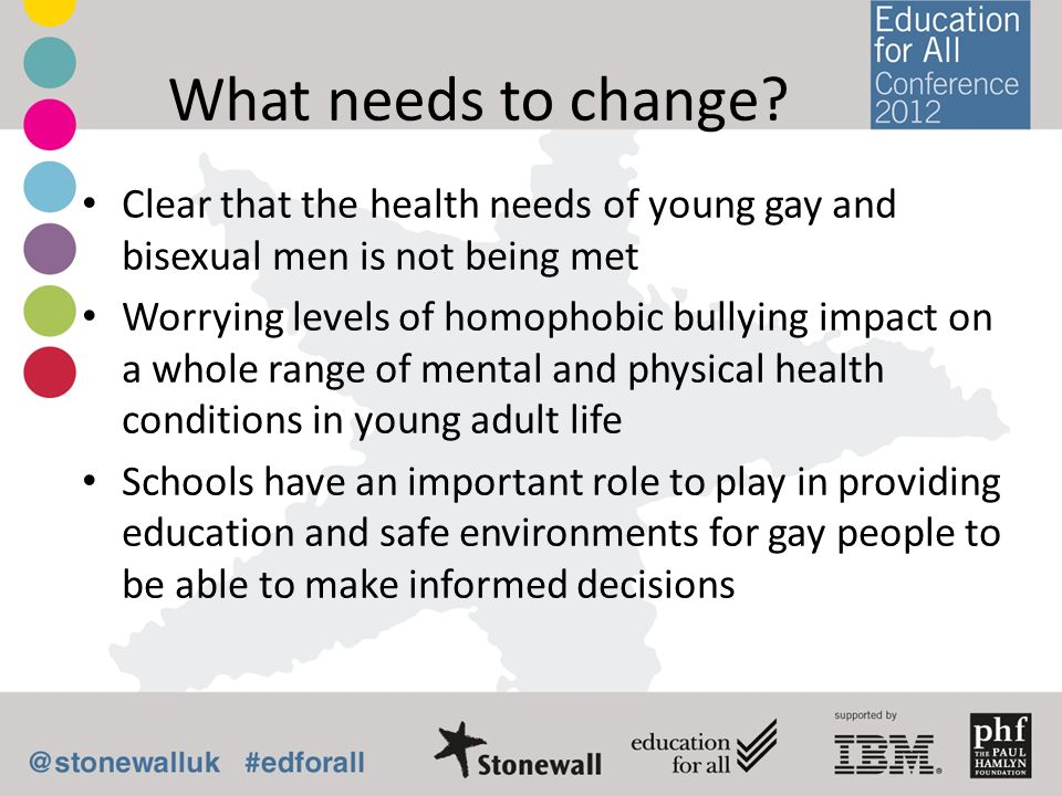 What needs to change Clear that the health needs of young gay and bisexual men is not being met.