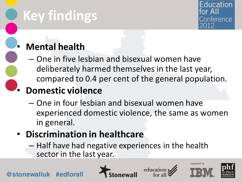 Key findings Mental health Domestic violence