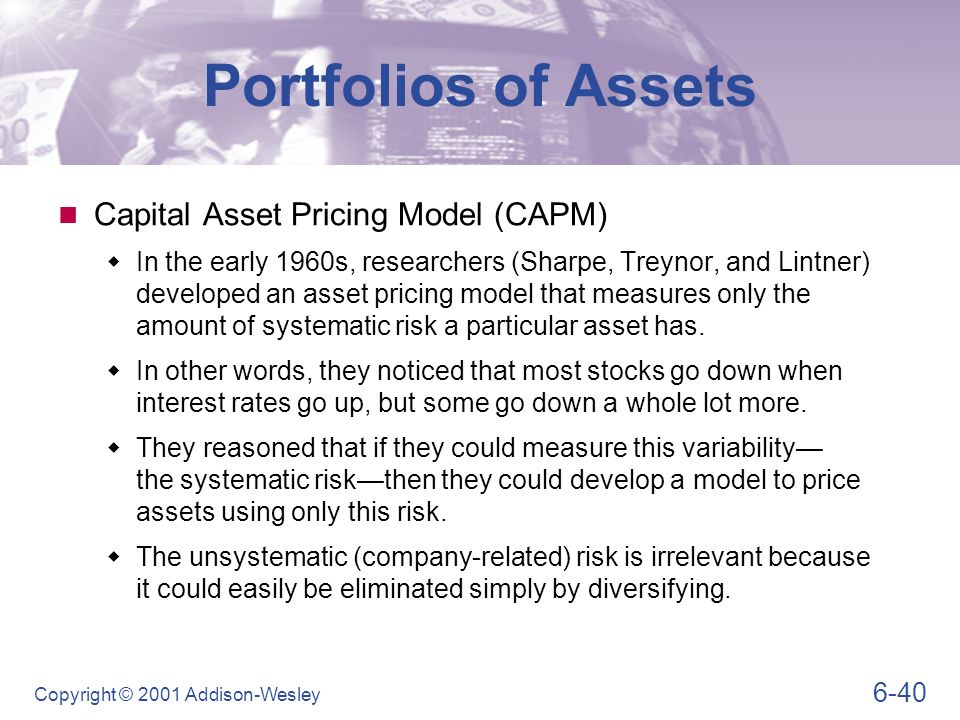 analysis of the capital assets pricing model 2012-2-9 empirical cross-sectional asset pricing: a  one of the central questions in finance is why different assets earn  asset pricing model is capital asset.