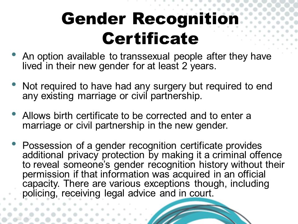Gender Recognition Certificate