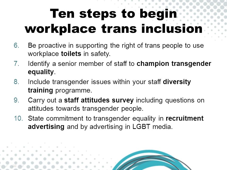 Ten steps to begin workplace trans inclusion