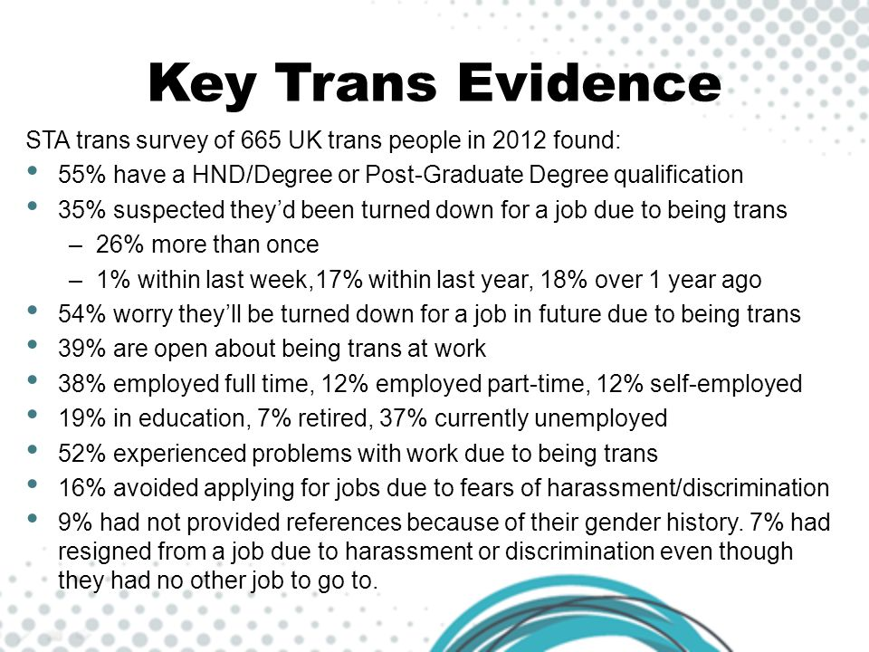 Key Trans Evidence STA trans survey of 665 UK trans people in 2012 found: 55% have a HND/Degree or Post-Graduate Degree qualification.