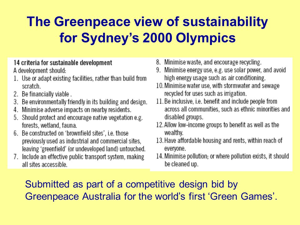 The Greenpeace view of sustainability