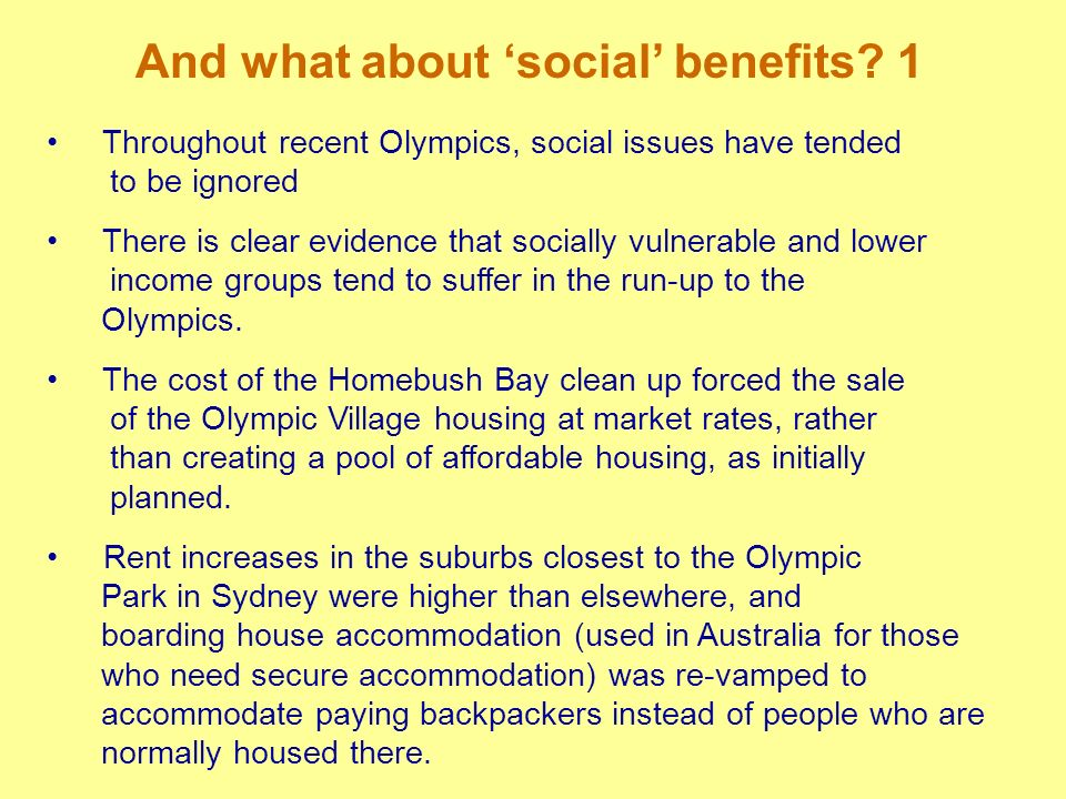 And what about 'social' benefits 1