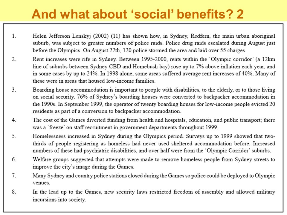 And what about 'social' benefits 2
