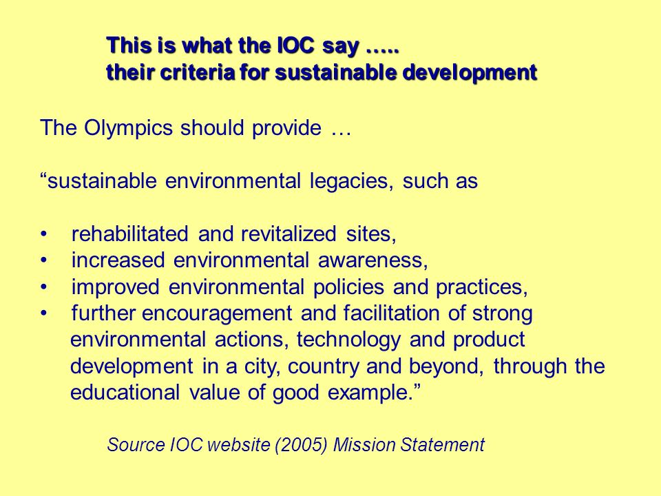 This is what the IOC say …..
