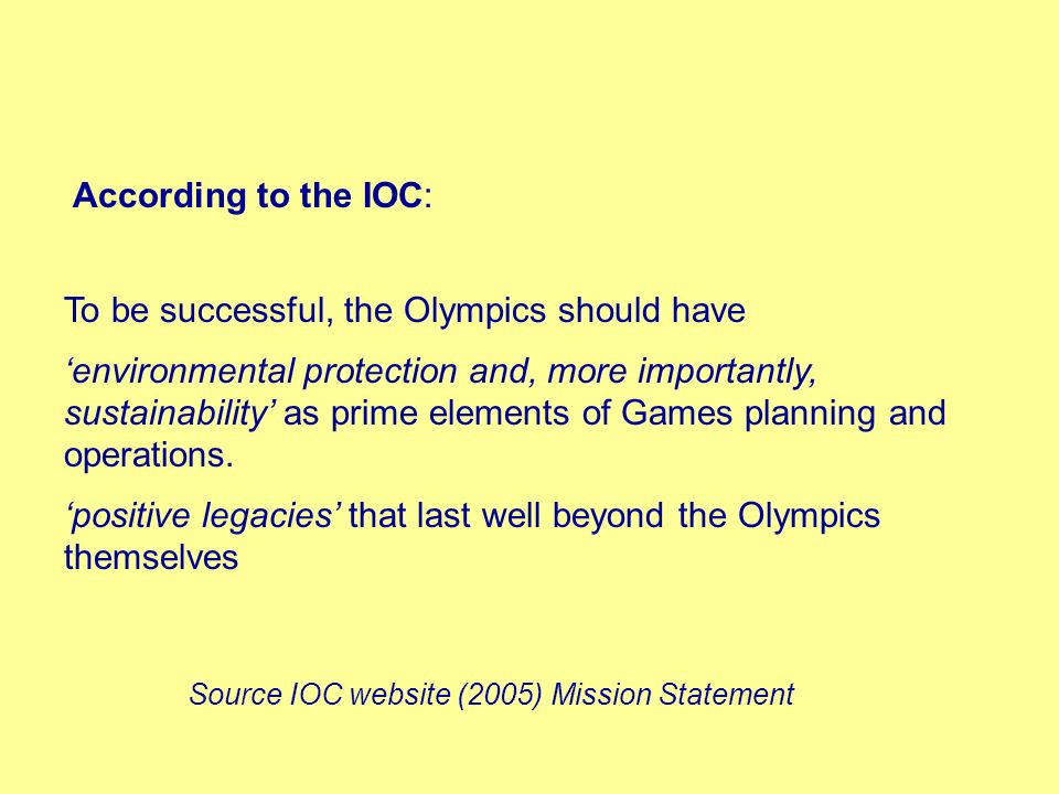 To be successful, the Olympics should have