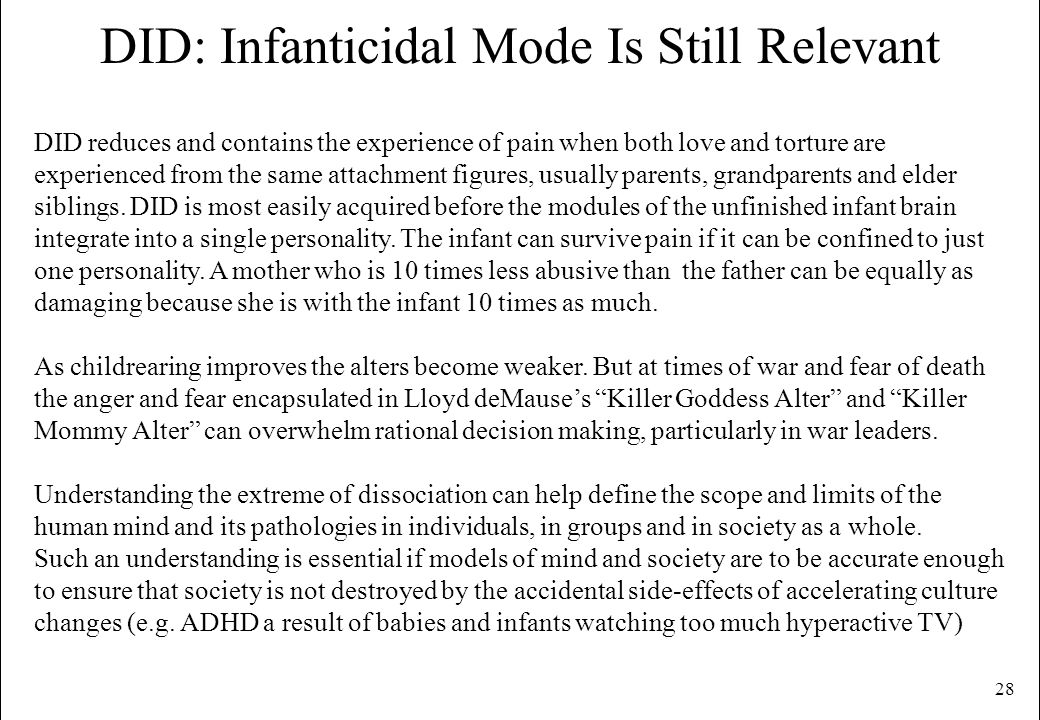 DID: Infanticidal Mode Is Still Relevant