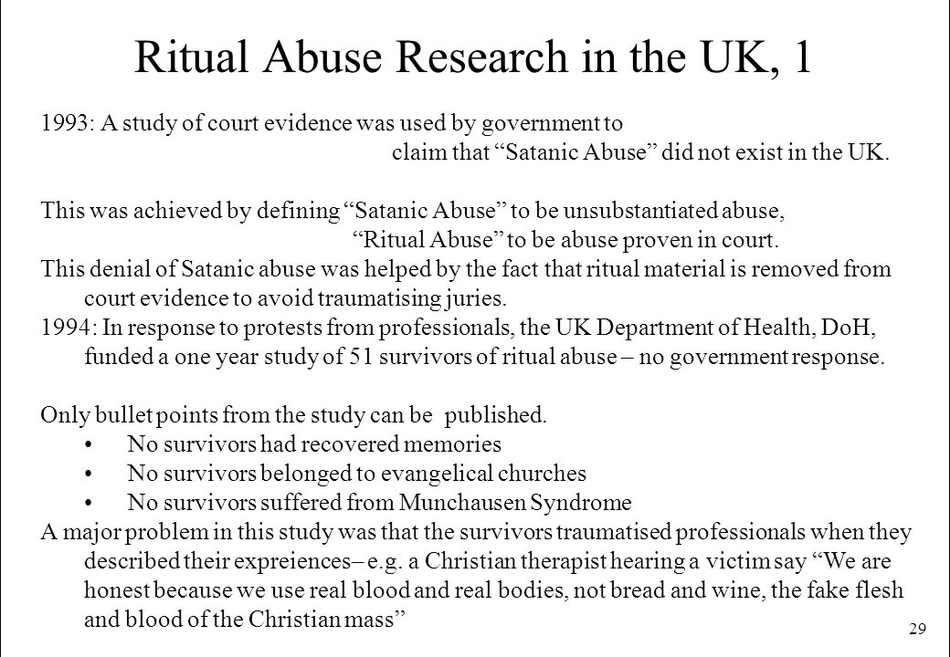 Ritual Abuse Research in the UK, 1